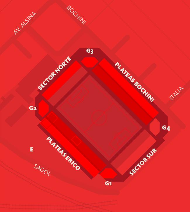Mapa y Capacidades Estadio Libertadores de América